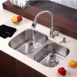 Kraus Kitchen Sinks Undermount Kraus Kraus 32 In Undermount 16 60 40 Bowl Stainless Steel Kitchen Sink