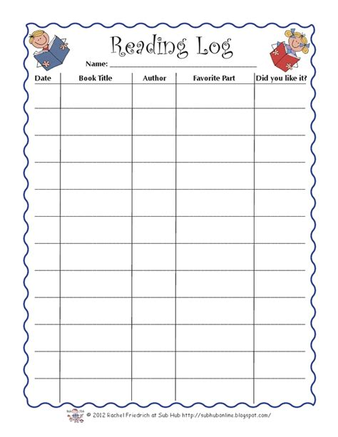 kindergarten reading log template reading log template