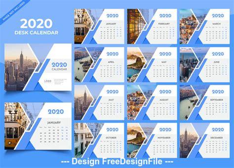 desk calendar  blue template vector