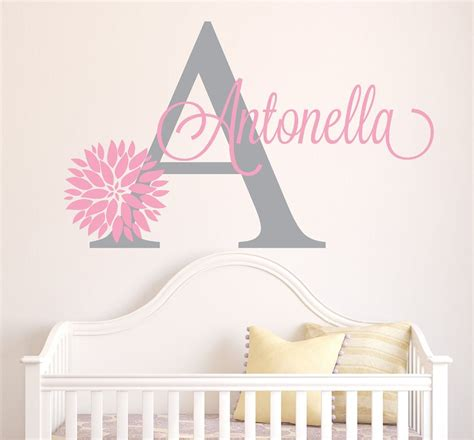 Name Wall Decor For Nursery Personalized Flowers Name Wall Decal Room Decor Nursery Wall Decals Vinyl Sticker For