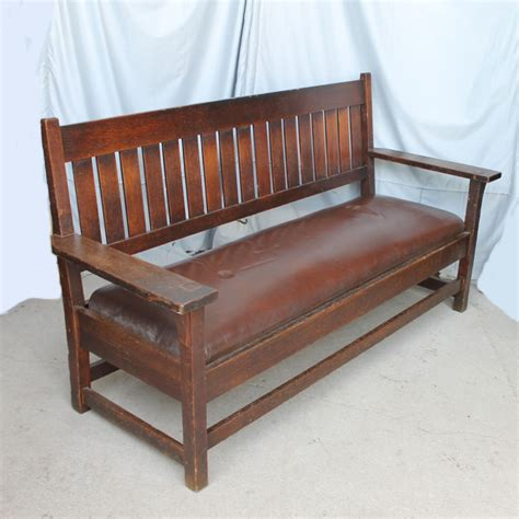 arts and crafts oak settle