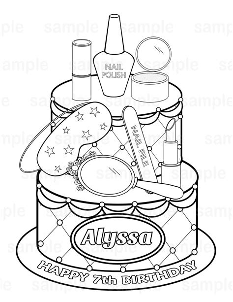 personalized printable spa party cake favor childrens kids