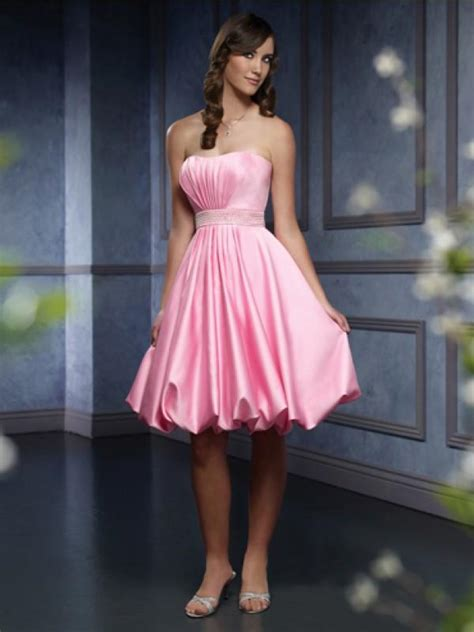 pink bridesmaid dresses ruffled satin knee length belt pink bridesmaid dresses prlog