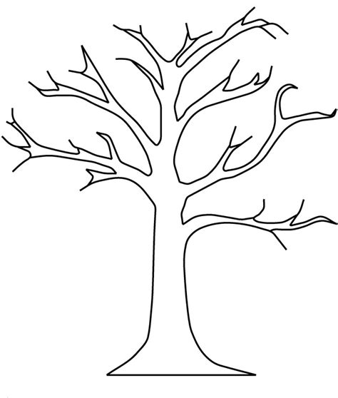tree trunk with branches template tree branches printable coloring pages