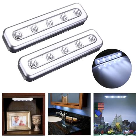 stick on cabinet lights tap lights 5 led self stick cabinet push light