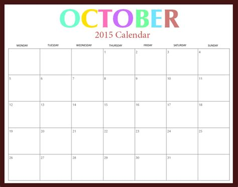Calendar October 2015 October 2015 Calendar Word 2017 Printable Calendar