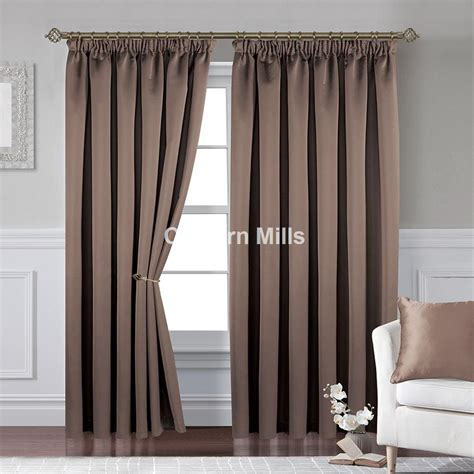 Textured Satin Taupe Pencil Pleat Curtains Chiltern Mills