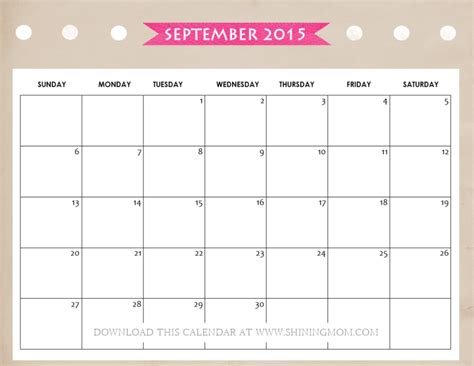 free printable mom planner 2015 all lovely 10 free calendars for september 2015