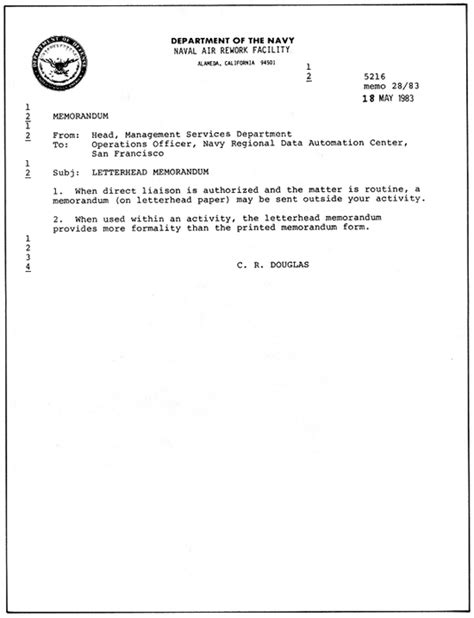 Official Navy Letterhead Naval Education And Command Hospital Corpsman 1 C Chapter 10 Navy Correspondence