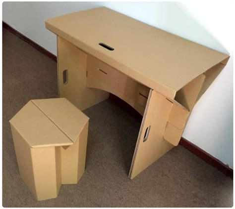 How To Make A Office Desk Diy Cardboard Furniture Paper Table With Chair Set Corrugated Cardboard Furniture Folding