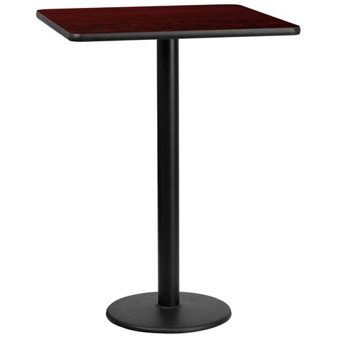 round bar top table 30 square mahogany laminate table top with 18 round