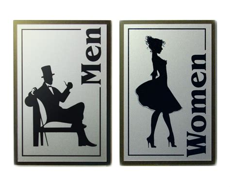men and women bathroom sign vintage retro style men women restroom sign