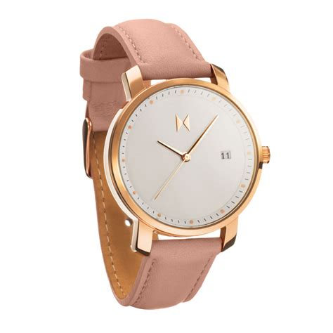 rose gold mvmt classic rose gold peach leather luxury watch woman