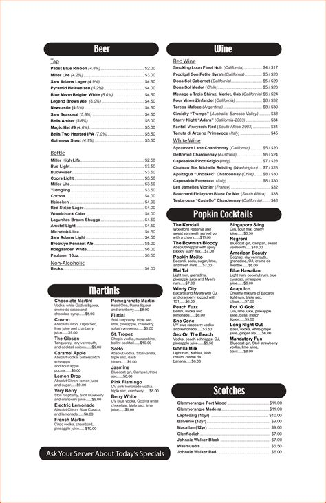 cocktail list template drinks menu template portablegasgrillweber