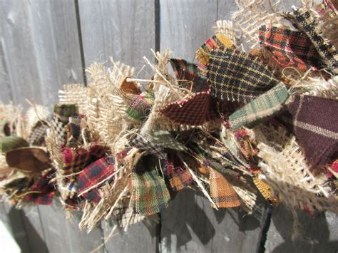 rustic fall garland burlap homespun fabric by