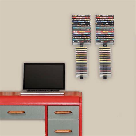 Wall Hanging Dvd Rack atlantic media stix 60 cd or dvd wall mount rack black