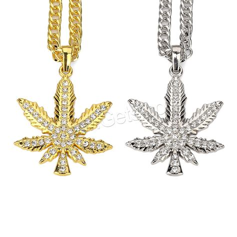 Rhinestone Maple Leaf Necklace zinc alloy sweater necklace maple leaf plated unisex rope