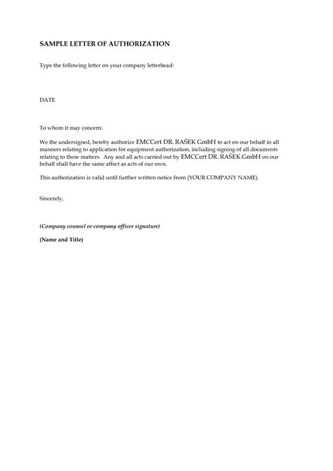Letter In For A Letter Of Authorization Format Best Template Collection