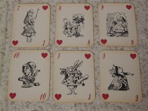 playing card print etsy alice in wonderland playing cards set of 14 by fyreflyhollow