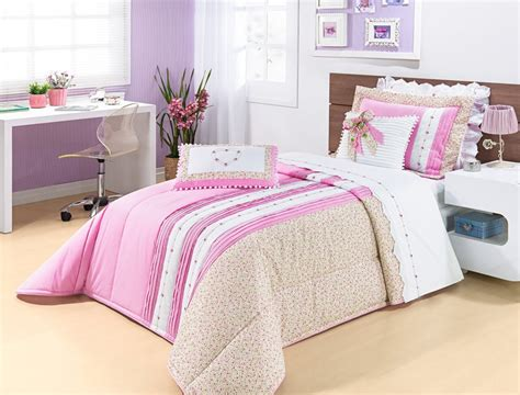 edredon solteiro cinza colcha princess rosa para menina em percal 200 fios cama