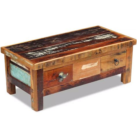 reclaimed wood desk with drawers vidaxl coffee table drawers solid reclaimed wood 90x45x35