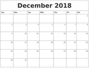 Calendar For 2018 December December 2018 Monthly Calendar