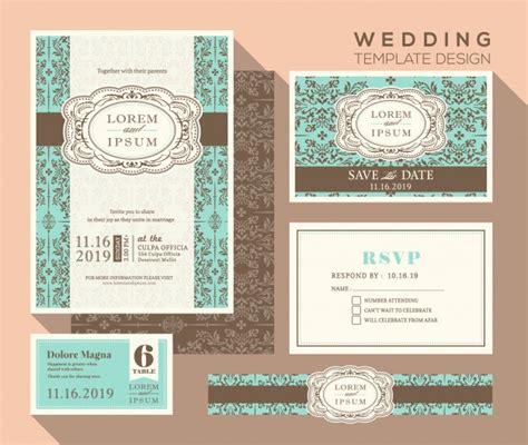 Kostenlose Vorlage Hochzeit Vintage Design Hochzeit Einladung Set Vorlage Platzkarte Antwortkarte Speichern Die Datumskarte