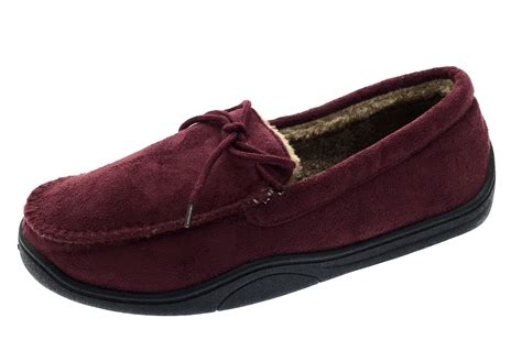 mens fur lined slipper boots mens warm slippers moccasins fauxn suede sheepskin fur