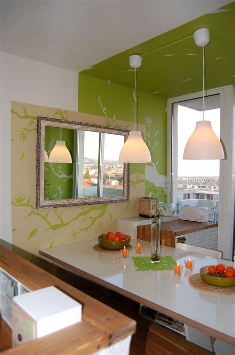Zen Decoration cuisine zen photo 3 4 vert pomme taupe et blanc cass 233
