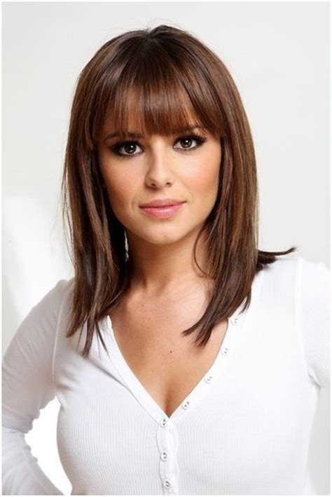 medium straight hairstyles with bangs straight medium hairstyles with blunt bangs easy