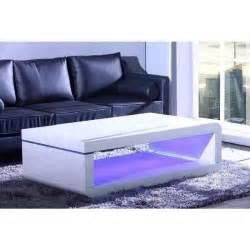 biwan table basse avec 233 clairage led 140cm blanc laqu 233