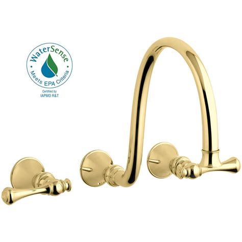 shop kohler revival vibrant polished brass 2 handle high kohler revival wall mount 2 handle water saving bathroom