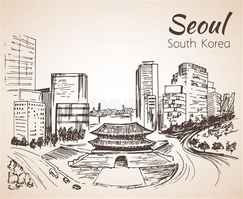sketchbook korea namdaemun the sungnyemun seoul cityscape