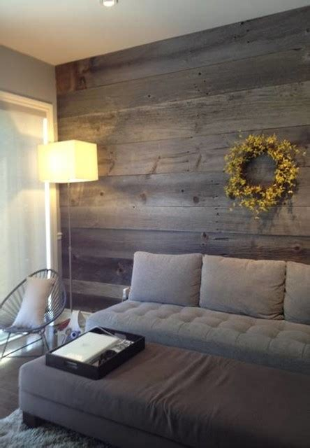barn board feature walls farmhouse living room