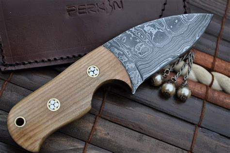 Handmade Neck Knife - custom made damascus bushcraft knife neck knife perkin