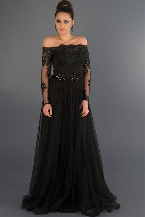 uzun kollu siyah uzun elbise modelleri gelinlik vitrini siyah dantelli uzun kollu abiye ab621 abiyefon com