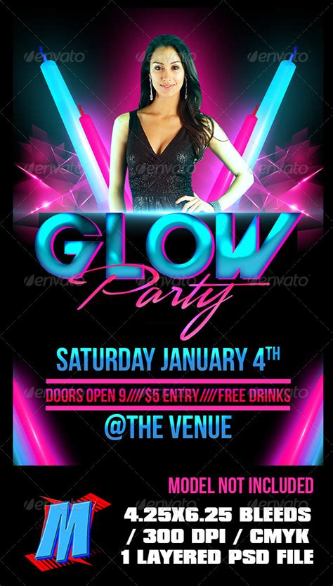 Graphicriver Glow Party Flyer Template Ianswer Graphicriver Iii Flyer Template
