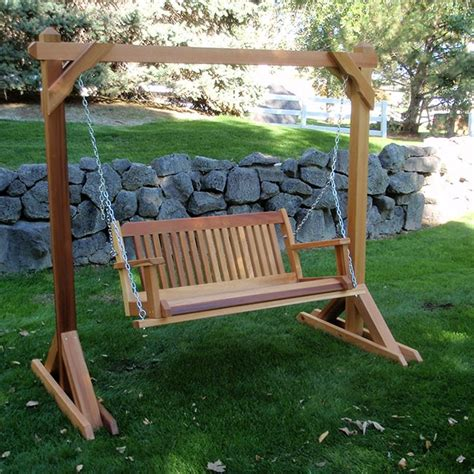 free standing bench swing wood country cabbage hill two person hanging cedar swing set