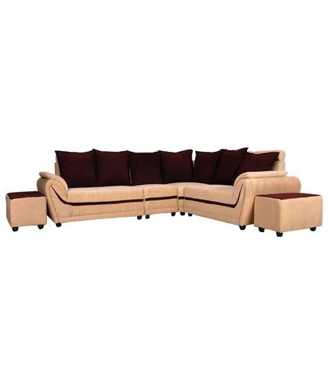 sofa set in l shape l shaped sofa set in beige buy l shaped sofa set in