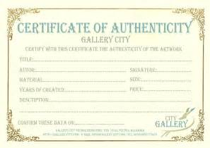 Certificate Of Authenticity Template by Gallery City 187 Certificate Of Authenticity