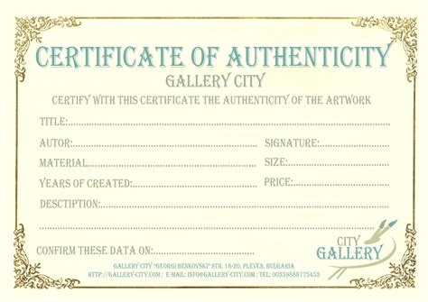 gallery city 187 certificate of authenticity