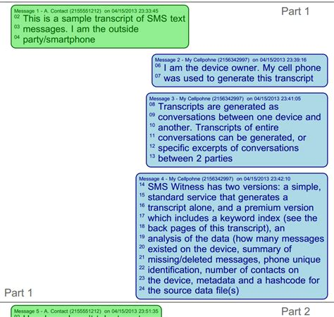 sms witness certified text message transcript production