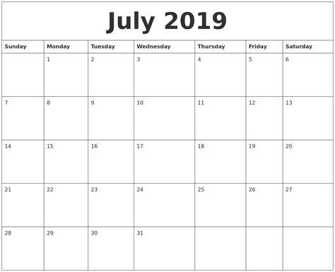 printable calendar pages july 2019 printable calendar pages