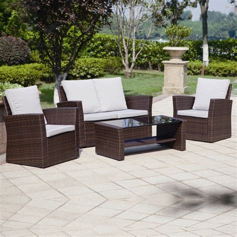 garden furniture 4 piece algarve rattan sofa set for patios conservatories