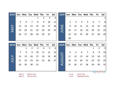 printable  month calendar   june july august  printable  calendar  holidays