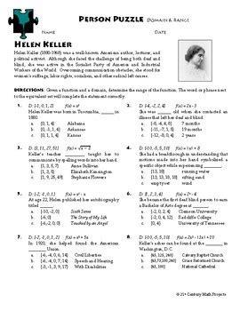 person puzzle domain range helen keller worksheet