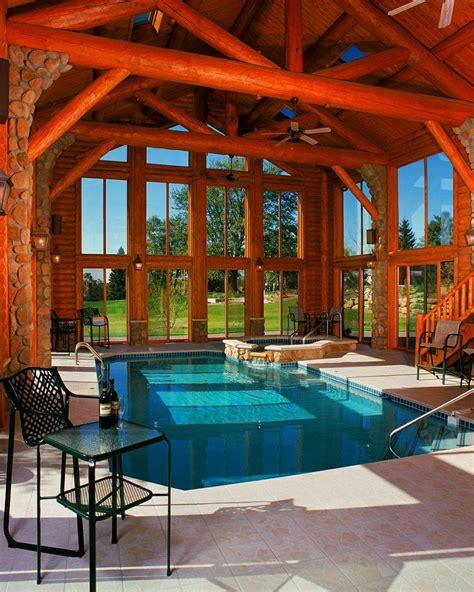 view   rustic cabin swimming pool