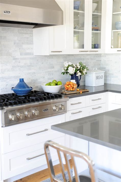 Grey Kitchen Cabinets With White Countertops by Linear Marble Backsplash Transitional Kitchen