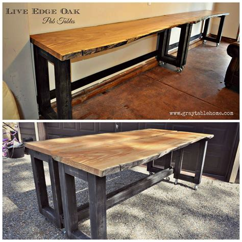 Live Edge Bar Table Diy Live Edge Oak Pub Tables Gray Table Home