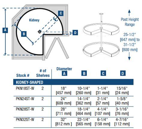 lazy susan cabinet sizes knape vogt polymer kidney shaped 2 shelf lazy susans
